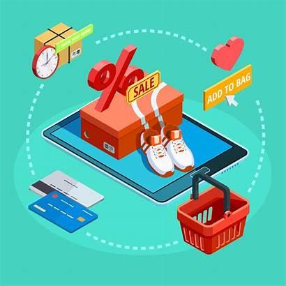Poster Shopping Commerce Ecommerce Isometric Process Winkelen