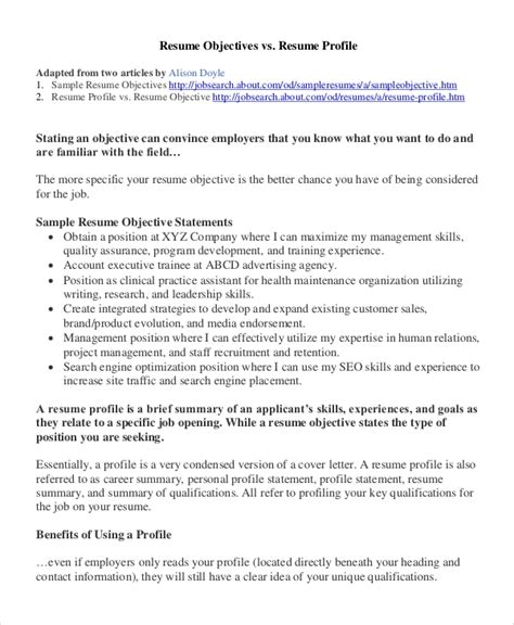 Should A Resume An Objective by Sle Resume Objective 8 Exles In Pdf