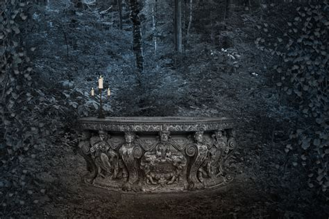 forest trees candles dark gothic fantasy wallpaper