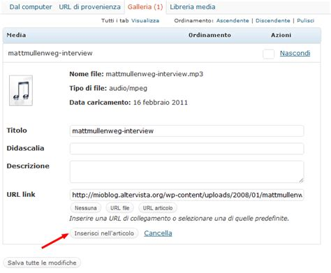 inserire file audio guida wordpress