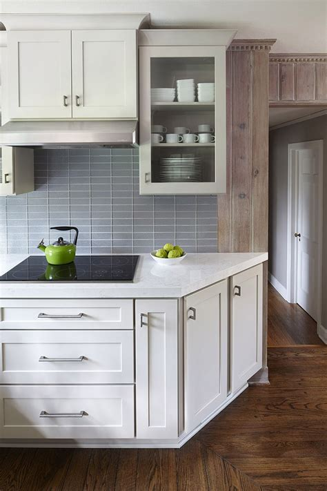 on kitchen cabinets angled end cabinet eases into passageway shown in