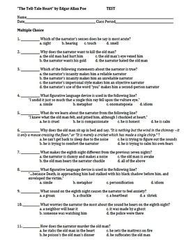 quot the tell tale quot by edgar allan poe reading test with