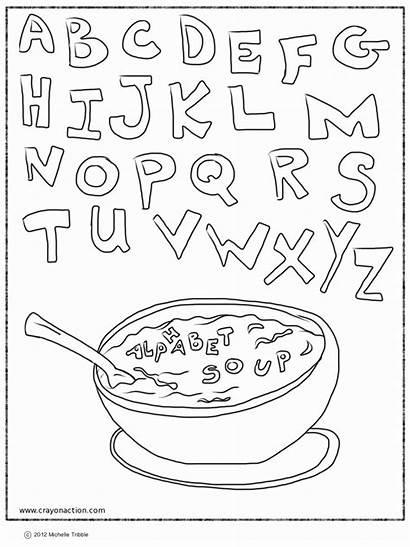 Coloring Alphabet Soup Pages Printable Abc Letter