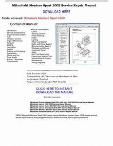 Mitsubishi Montero Sport 2002 Repair Manual By