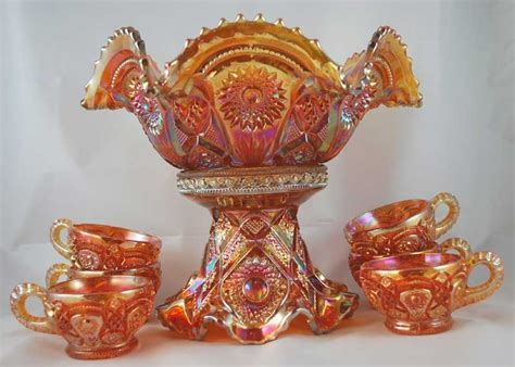 Imperial Glass Company   Marigold Carnival Punch Bowl