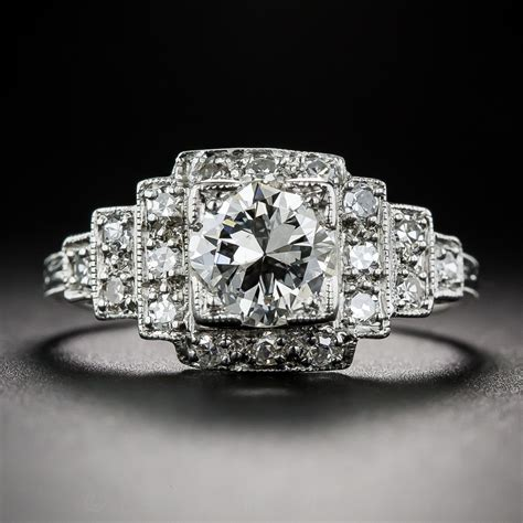 98 carat diamond and platinum art deco engagement ring vintage engagement rings