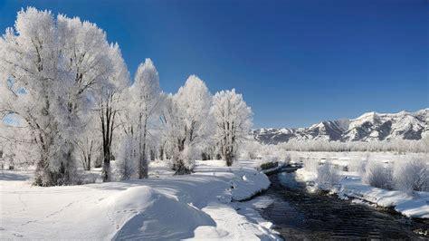 frozen river beautiful white winter landscape
