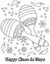 Mayo Cinco Coloring Pages Printable Mexican Maracas Fiesta Sheets Activities Worksheets Sombrero Crafts Drawing Happy Kindergarten Clipart Games Fun History sketch template