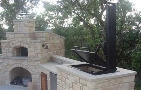 Fabric Kitchen Cabinet Doors by Hill Country Outdoor Kitchen Features Smoker And Pizza