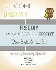 Diy baby announcement template baby announcements templates free and diy baby for Baby announcements templates