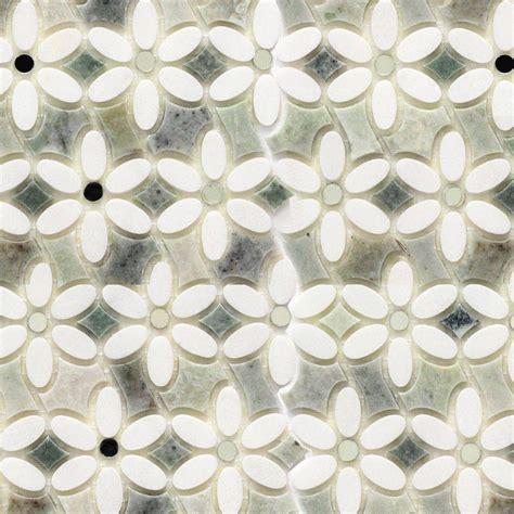 white mosaic floor tile splashback tile steppe mutisia white thassos and ming green marble waterjet mosaic floor and