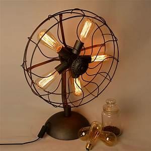 industrial fan table lamp macer home decor With edison fan floor lamp
