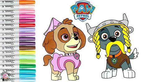 paw patrol coloring book page halloween skye rocky