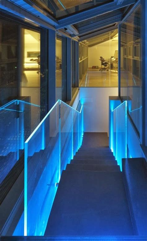 Glowing Interior Designs by Glowing Balustrades Created By Edge Lighting Acrylic Glass