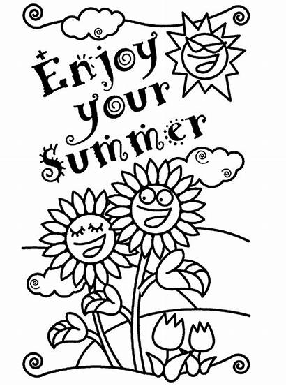 Coloring Summer Pages Greeting Cards Season Card