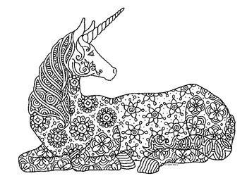 unicorn zentangle coloring page  pamela kennedy tpt