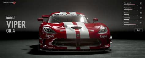 best gran turismo sport cars dodge viper gr 4 gran turismo sport car list