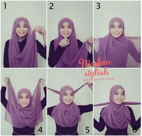 memakai jilbab pashmina simple kreasi terbaru