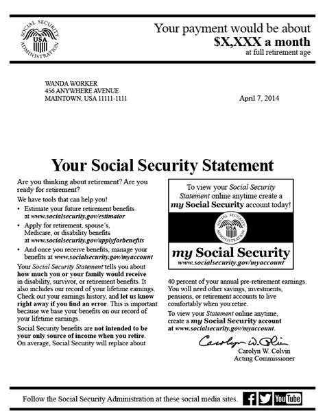 ssi award letter the social security statement background implementation 17864