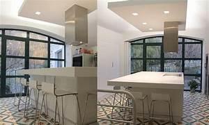 faux plafond cuisine design maison travaux With faux plafond design cuisine