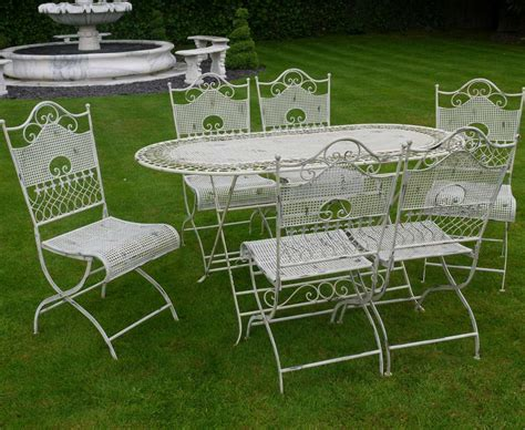 shabby chic metal garden furniture jayden shabby chic white wrought iron metal garden furniture patio table 6 chairs garden