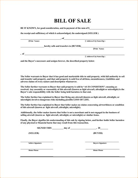 Bill Of Sale Template Word 7 Bill Of Sale Template Word Authorizationletters Org