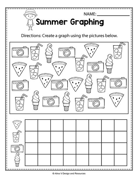Summer Graphing  Summer Math Worksheets And Activities For Preschool, Kindergarten And 1st