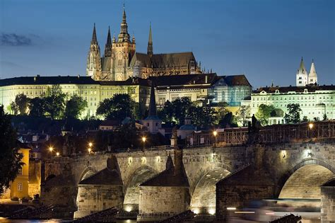Filenight View Of The Castle And Charles Bridge Prague