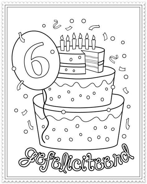 Kleurplaat Hoera 6 Jaar hoera 6 jaar kleurplaat verjaardag