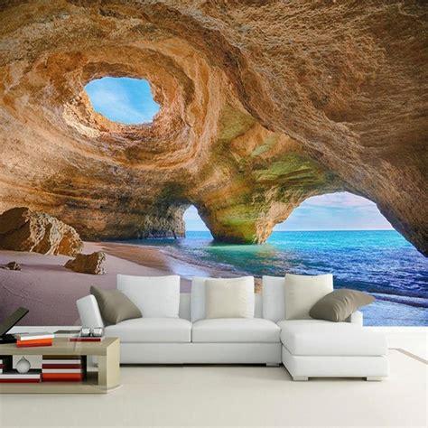 custom  size  mural wallpaper beach reef cave living