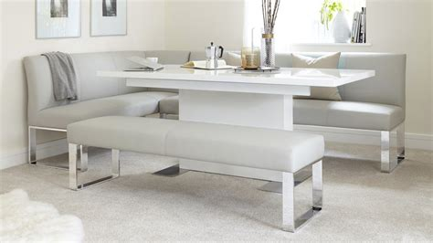modern glass dining table set 7 seater right corner dining bench faux leather