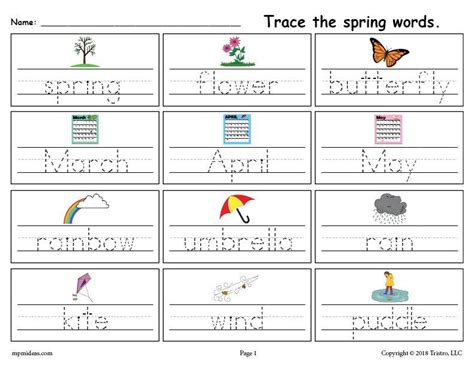 free printable spring words handwriting tracing