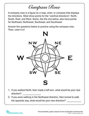 what is a compass rose worksheet education