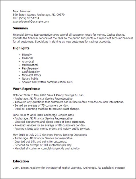 Financial Services Rep Resume by Professional Financial Service Representative Templates To Showcase Your Talent Myperfectresume
