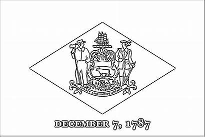 Coloring State Pages Delaware Flag Washington Flags