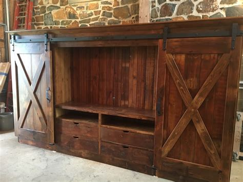 Furniture Cabinets With Doors by Barn Door Entertainment Cabinet With X Barn Doors