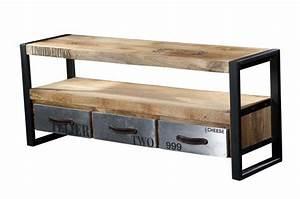 Meuble Tv Metal Bois : meuble tv en bois et m tal chrome design sur sofactory ~ Teatrodelosmanantiales.com Idées de Décoration