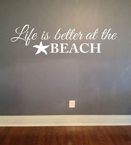 Life is better at the beach wall decal vinyl lettering for Beautiful beach decals for walls
