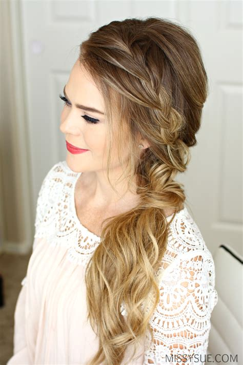hair on the side styles braided side swept prom hairstyle sue