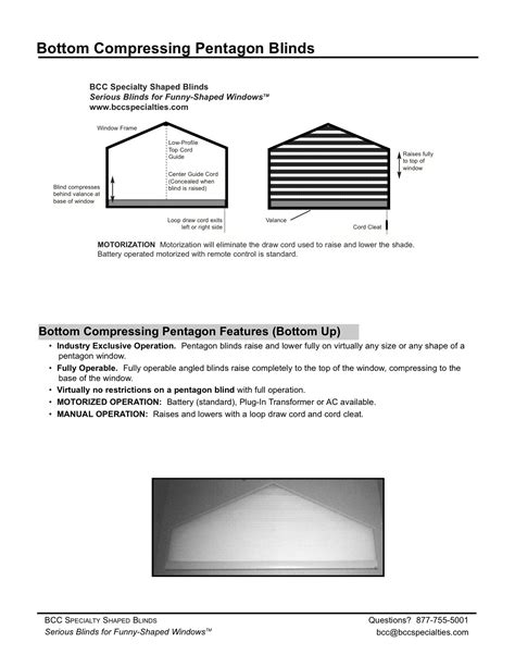 BCC Specialties :: Pentagon Blind Specifications