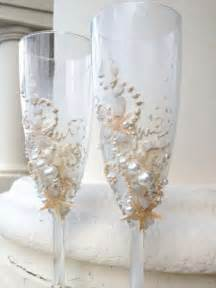 wedding glasses starfish wedding chagne glasses wedding toasting flutes in ivory destination wedding