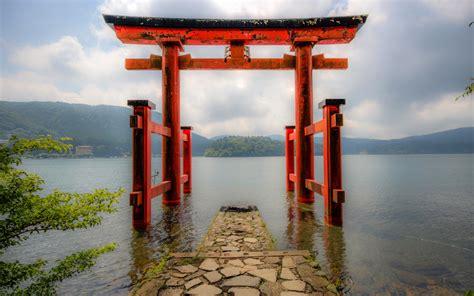 wallpapers hakone shrine gate lake japanese