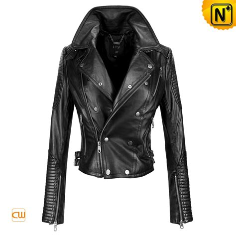 black motorbike jacket fashion black women leather motorcycle jackets cw608102