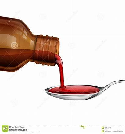 Medicine Syrup Bottle Pouring Spoon Clipart Clip