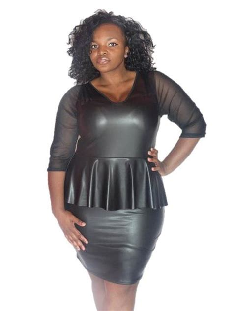 black faux leather peplum dress  mess sleeves