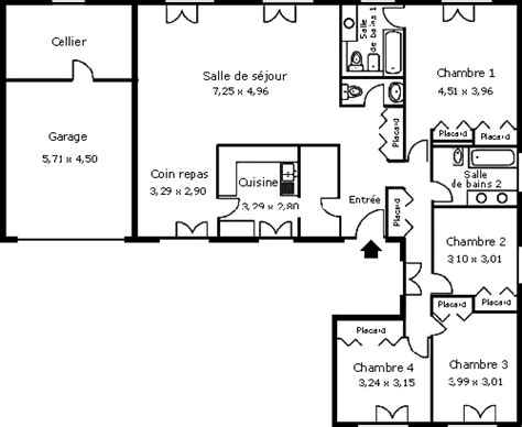 plan maison 4 chambres 騁age les maisons