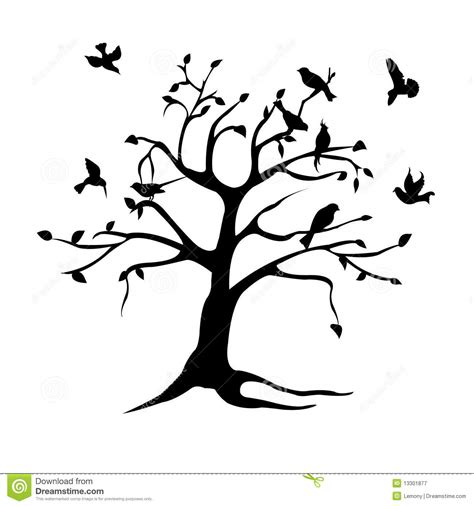 tree  birds silhouette royalty  stock photography