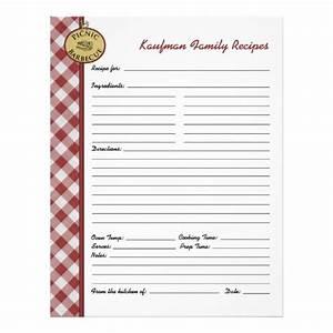 Picnic Barbecue Red Checkered Custom Recipe Page ...