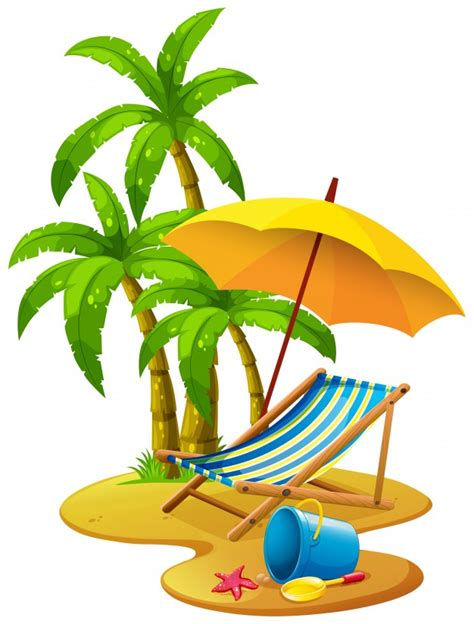 Beach Scene With Chair And Umbrella Vector  Free Download