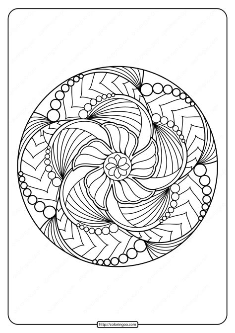 printable adult floral mandala coloring page